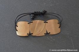 bracelet-brossé-feuille-bronze-doré-cuir