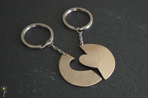 Porte-clés en bronze blanc à partager