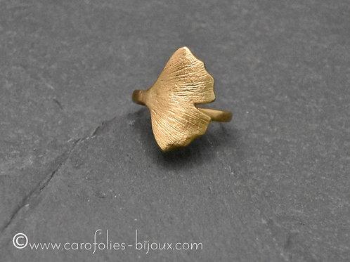 Bague ginkgo en bronze doré