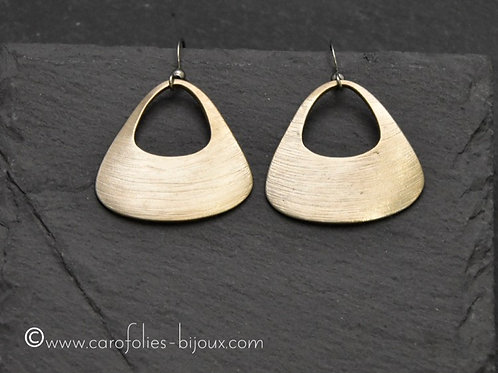 Boucles d'oreilles triangulaires en bronze doré ou blanc
