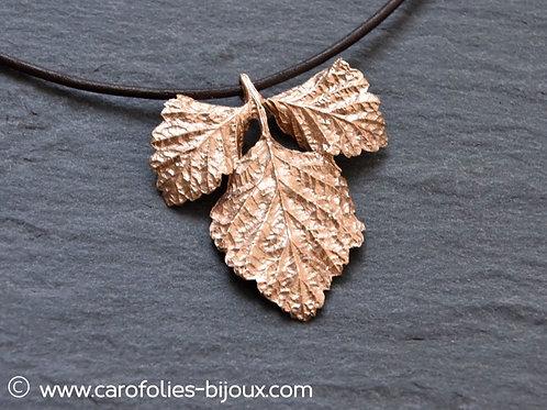 Collier feuilles de framboisier (bronze doré)