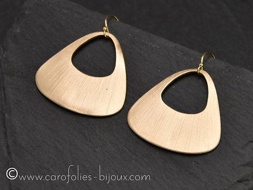 Boucles d'oreilles triangulaires en bronze doré