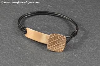 040-Carreaux-homme-bracelet-bronze-doré-