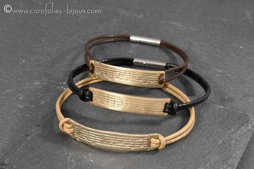 """Bracelet en bronze blanc """"musique"""""""
