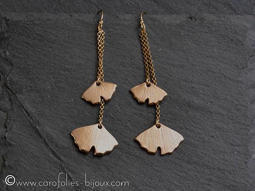 Boucles d'oreilles 2 feuilles ginkgo en bronze