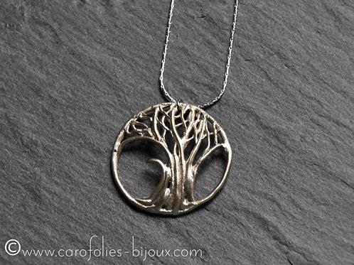 Collier arbre de vie en bronze blanc