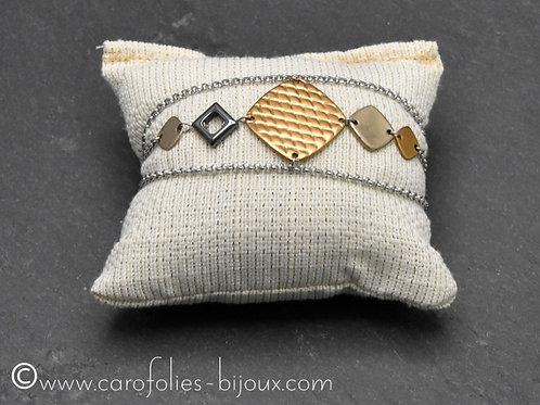 Bracelet trois bronzes blanc, doré et rose