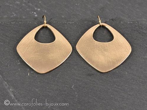 Boucles d'oreilles carrées en bronze doré ou blanc - grand modèle
