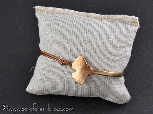Bracelet demi-jonc ginkgo en bronze doré