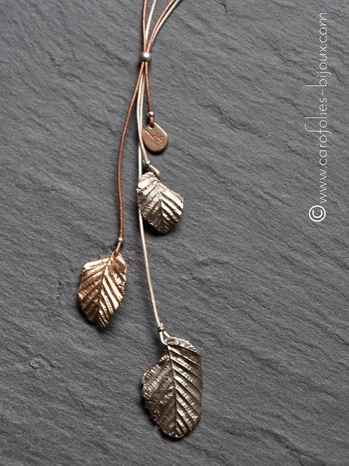 Sautoir feuilles de charme (bronze doré et blanc)