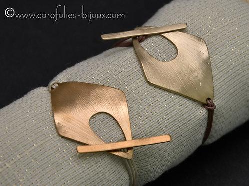 Bracelets losange en bronze doré ou blanc