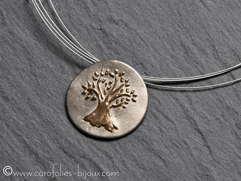 Collier arbre de vie en bronze blanc et doré