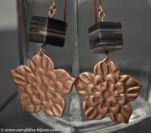 Boucles d'oreilles en bronze rose