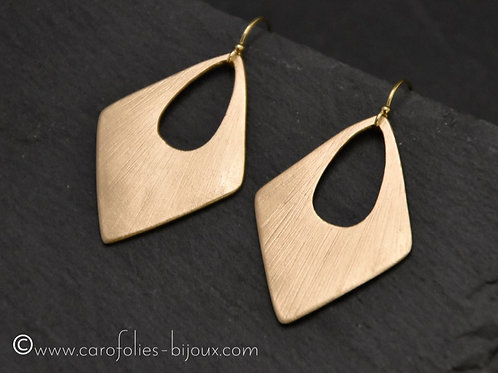 Boucles d'oreilles losanges en bronze doré ou blanc