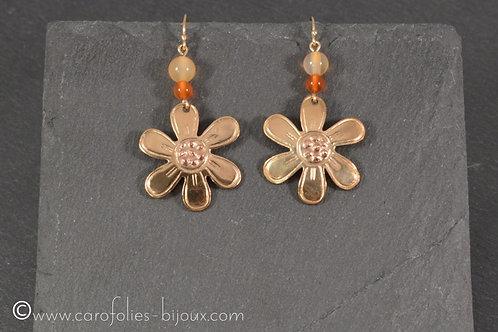 Boucles d'oreilles en bronze doré et cuivre