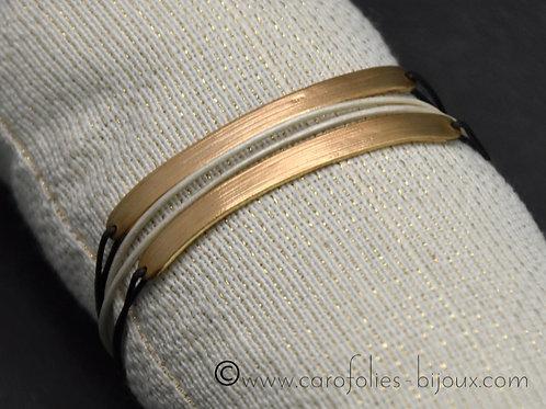 Bracelet demi-jonc en bronze doré ou blanc