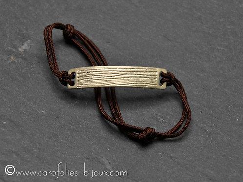 Bracelet en bronze blanc Ecorce de bois