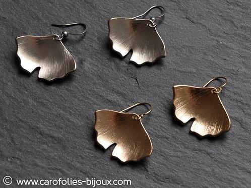 Boucles d'oreilles ginkgo grand modèle en bronze