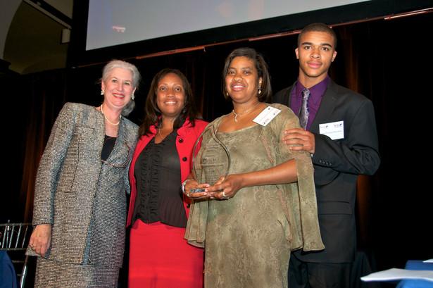 With Women's DC Bar Association president Holly Loiseau and Dovey's goddaughter Charlene Pritchett Stevenson and Charlene's son James