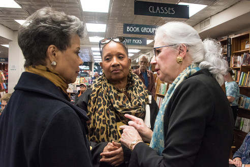 Former news anchor Maureen Bunyan and Janice Ferebee of the National Museum of African American History and Culture with Katie at Politics & Prose