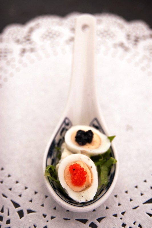Canapes Quails eggs & caviar