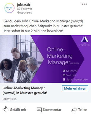linked in recruiting jobkampagne social media jobtastic mobil