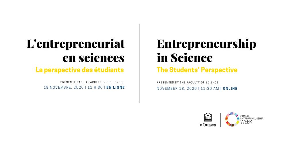 L'entreprenariat en Science   Entrepreneurship in Science