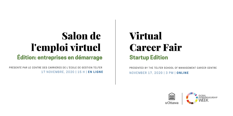 Salon de l'emploi virtuel : Entreprises en démarrage 2020   Startup Virtual Career Fair 2020