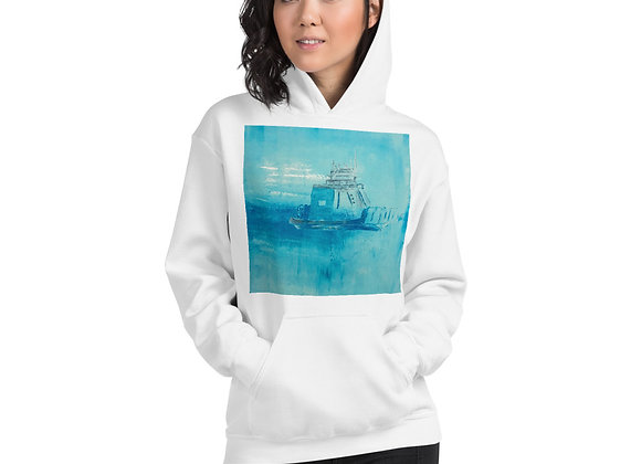 Unisex Drummond Island Ferry Boat Hoodie (blue and white)