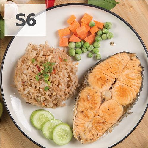 S6 ข้าวผัดน้ำพริกแซลมอนย่าง