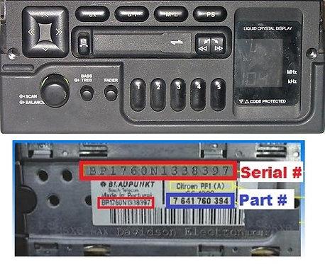 Citroen Blaupunkt PF1Bradio code