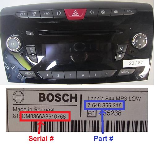 Lancia Bosch Ypsilon 848 radio code