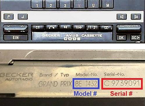 Mercedes BeckerEuropa 2000 24v radio code