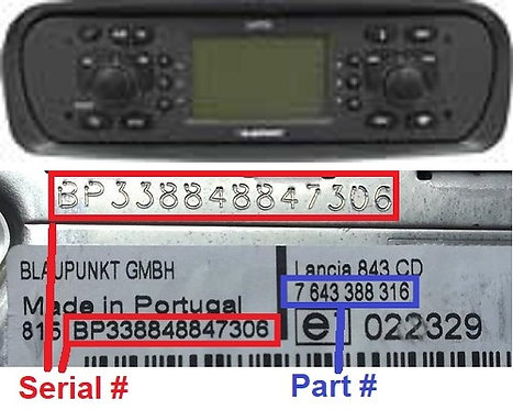 LANCIA Blaupunkt YPSILON RNS3radio code