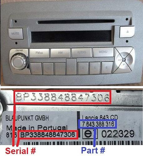 LANCIA Blaupunkt MUSA 848 C1V2 CD Goldradio code