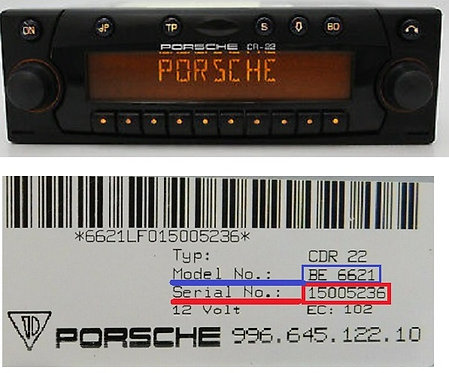 Porsche becker cr22 BE4367 radio code