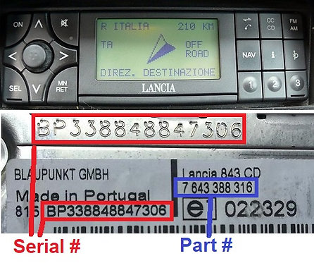 LANCIA Blaupunkt KAPPA 838radio code