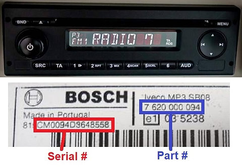 John Deere Bosch CD Mp3 radio code