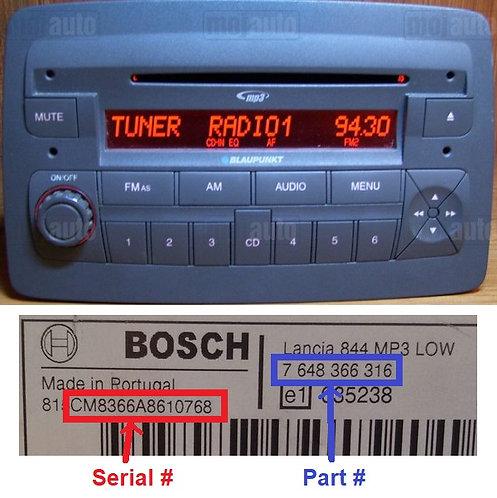 Lancia Bosch Ypsilon 848 Mp3 radio code
