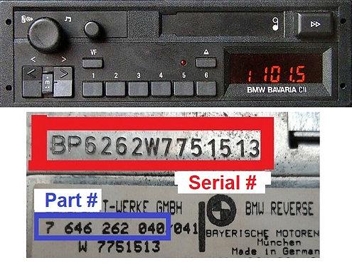 BMW BAVARIA C IIradio code