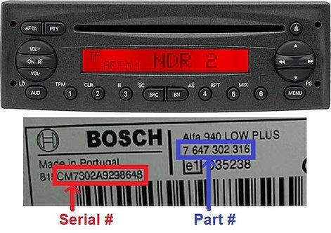 Fiat Bosch Ducato 250 CD radio code
