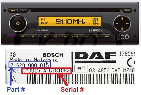 DAF Bosch CALAIS MP48radio code
