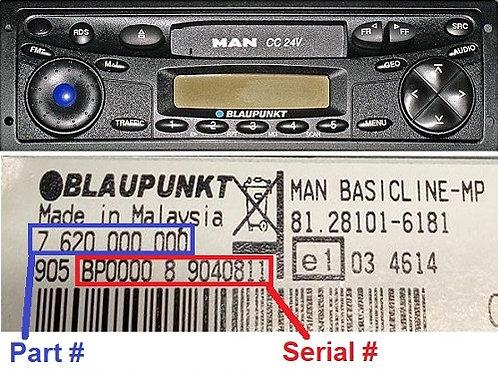 MAN Blaupunkt CC24vradio code