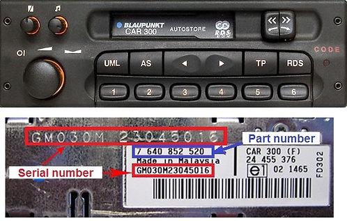OPEL Blaupunkt Car300 radio code