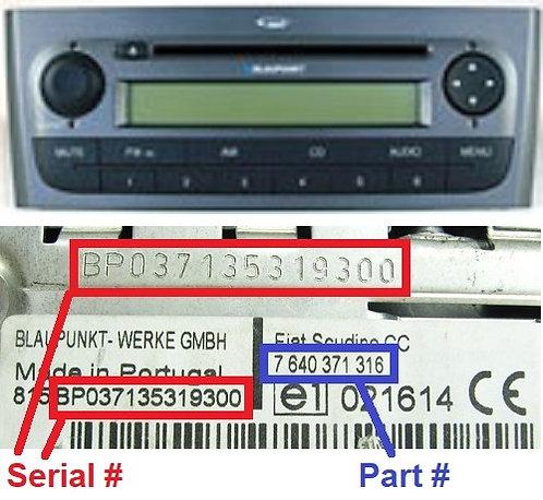 FIAT PUNTO 310 MP3 BSA HIGHradio code