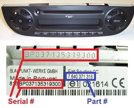 FIAT 500 312 Black japan MP3 SB05 radio code