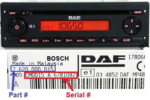 DAF Bosch MP48radio code
