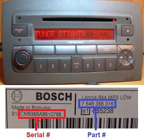 Lancia Bosch Musa 848 radio code