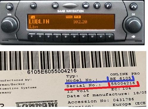 Saab becker Online pro BE7100 radio code