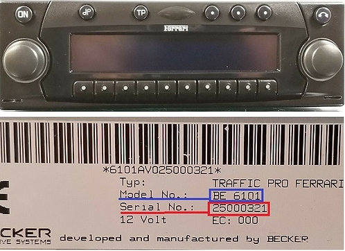 Ferrari becker Mexico pro CD BE6104 radio code